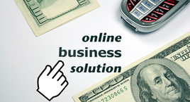 stock photo with text: online business solution